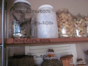 Re-Cycled Gallon Jars from restaurants hold a wide variety of items.